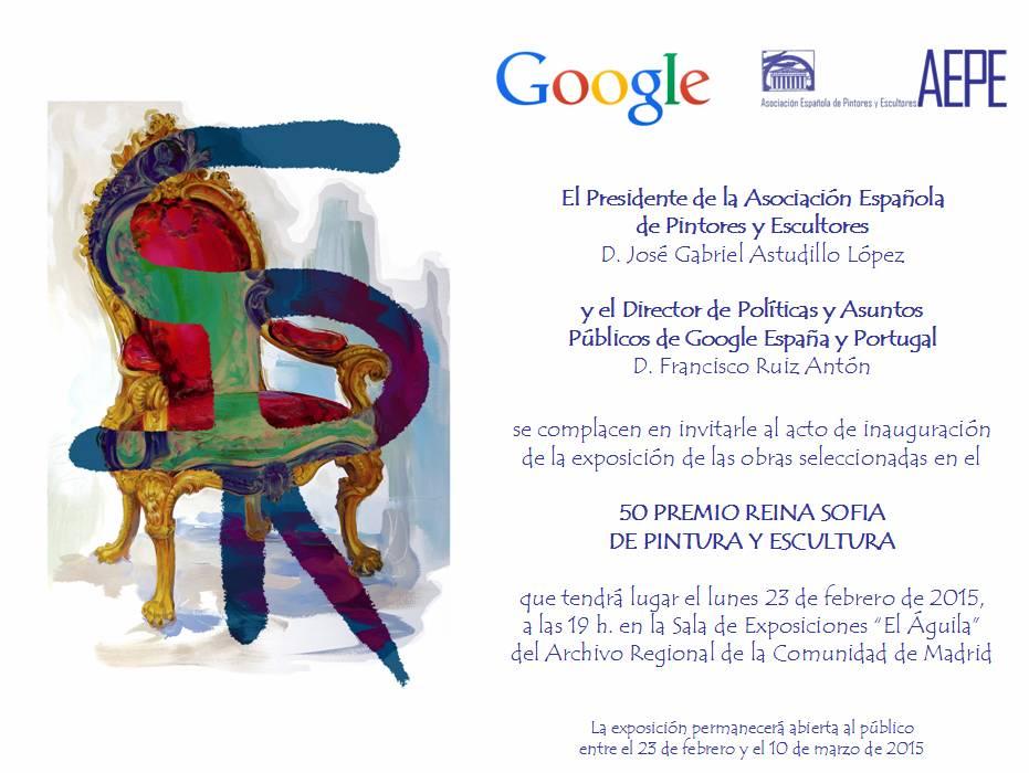 Invitación inauguración 50 Premio Reina Sofía
