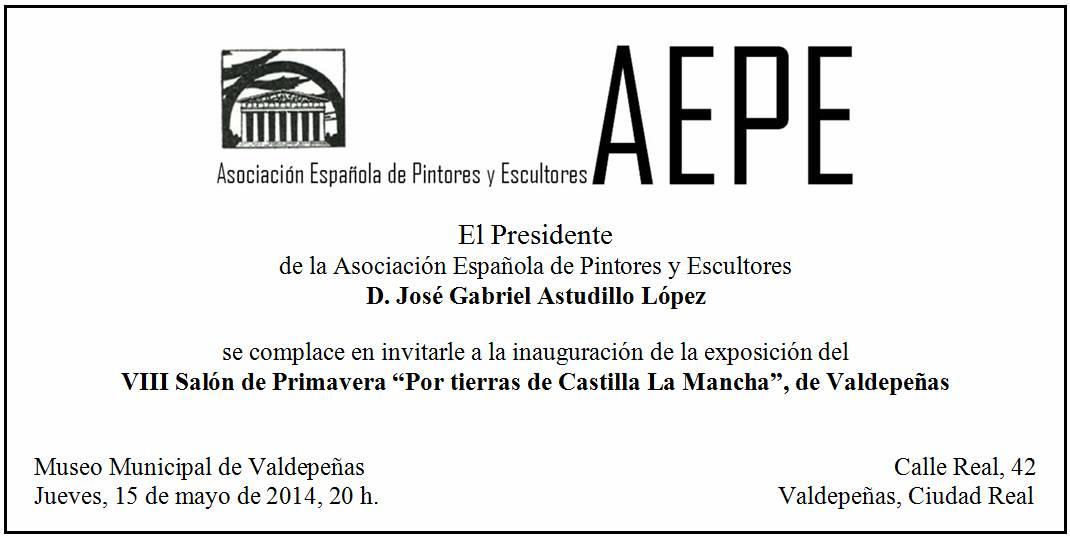 Invitación inauguración Valdepeñas 15 de mayo