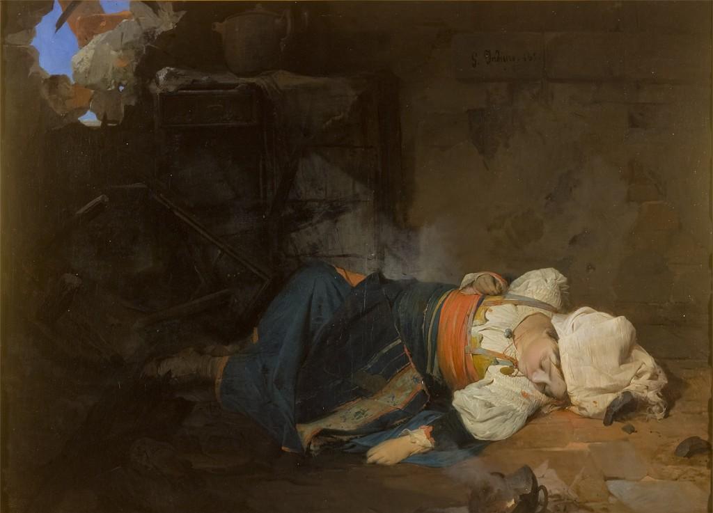 Induno Girolamo- Trasteverina uccisa da una bomba (Idini) G3682