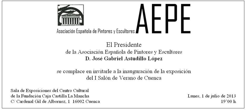 Invitación normal Salón de Verano de Cuenca
