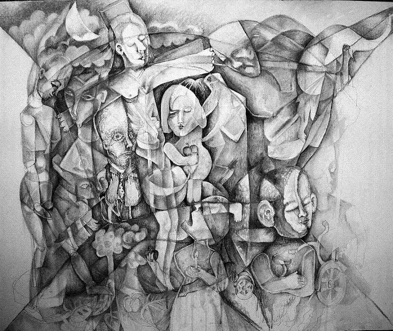 1 Felipe Alarcón La crucifixión del cubismo Dibujo lienzo 100x81