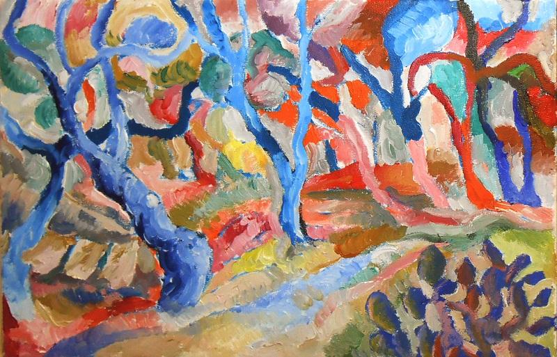 2 bosque azul con ropa tendida