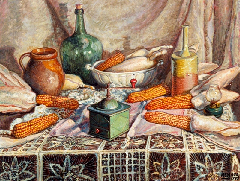 Bodegón con cacharros y panochas de maíz