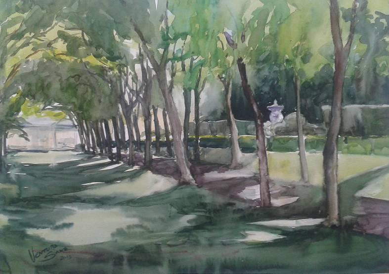 Jardines La Granja de San Ildefonso. Acuarela 70 x 50