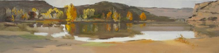 Laguna de Ruidera 30x120 oleo-lienzo 1