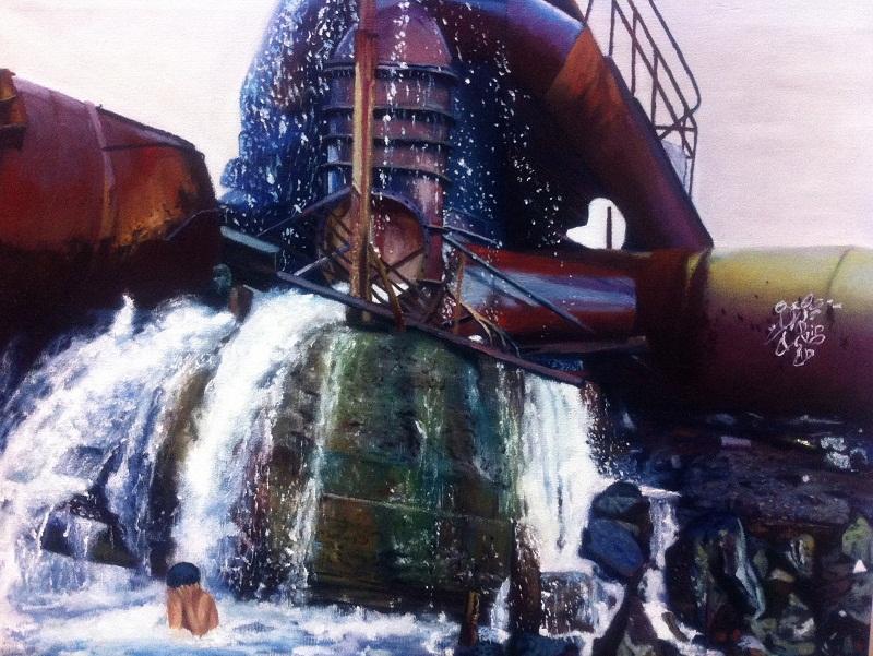 Niño duchandose en Rusia oleo lienzo 73 x 92 a