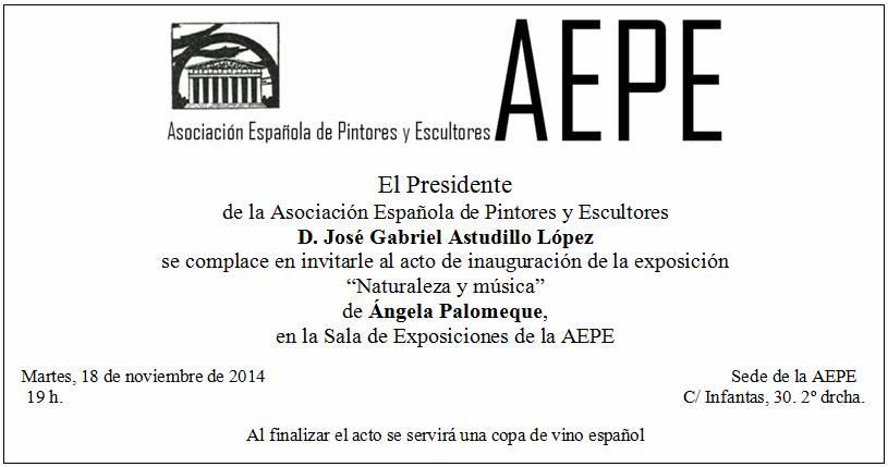 Invitación inauguración Angela Palomeque