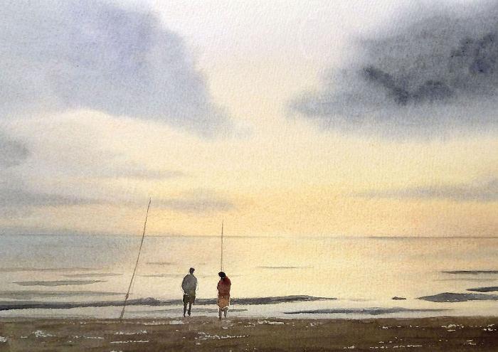 Amanecer en la playa 2 bien