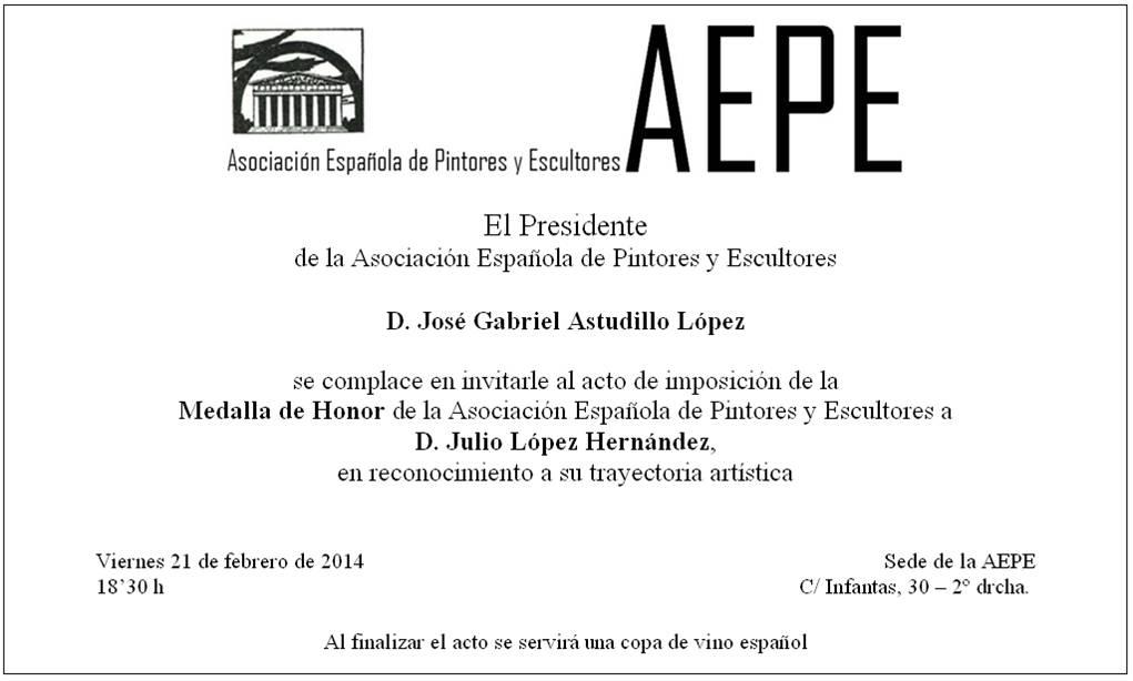 Invitación Medalla de Honor