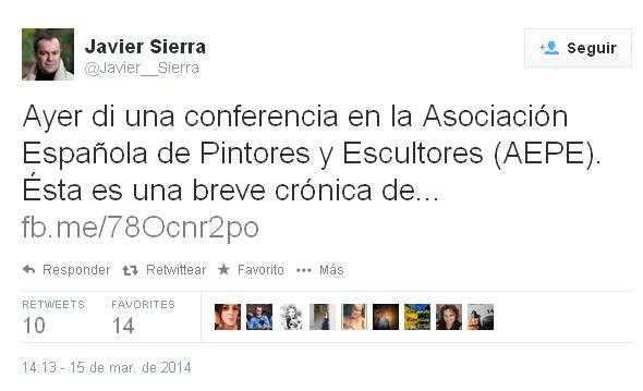 Twitter Javier Sierra tras conferencia