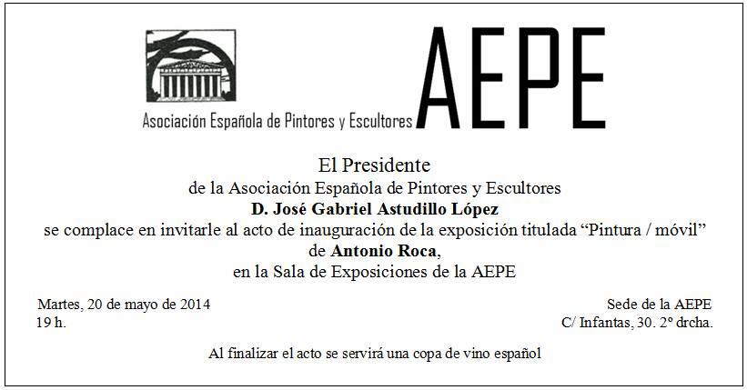 Invitación inauguración Antonio Roca