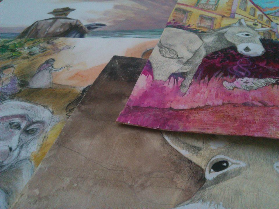 Preparando Platero y los artistas