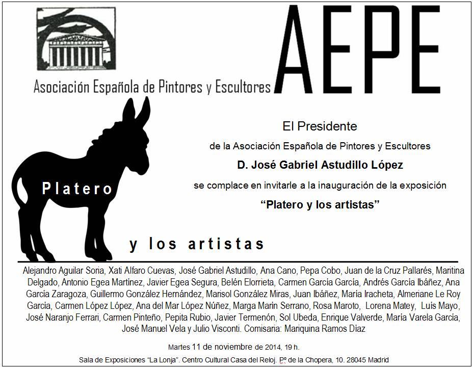 Invitación inauguración Platero y los artistas Madrid
