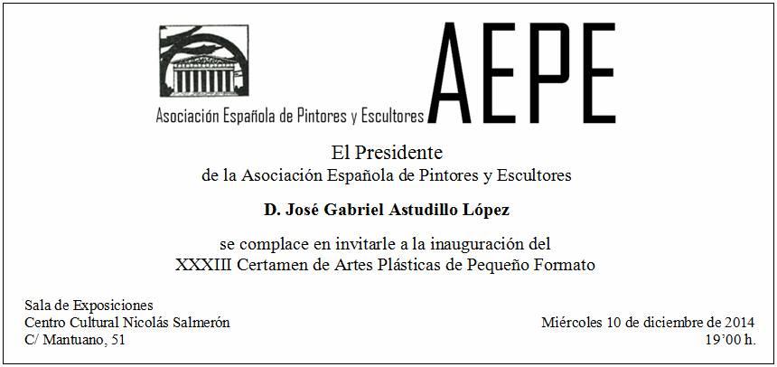 Invitación inauguración 33 Certamen Pequeño Formato