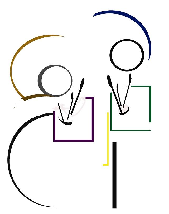 feria pintores lineas 2 circulos de colores blanco alicia