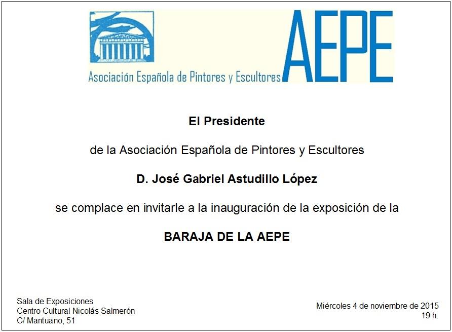 Invitación inauguración Baraja en CC Nicolás Salmerón