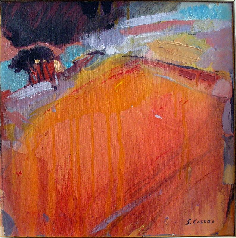 Amanecer en rojos Oleo- tela 40 x40 aaaaa
