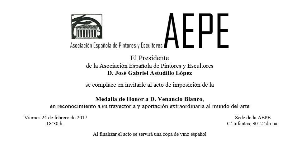 Invitación Medalla Honor Venancio Blanco