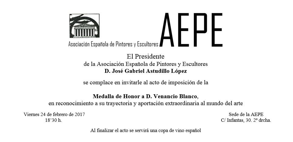 Invitación Medalla Honor Venancio Blanco